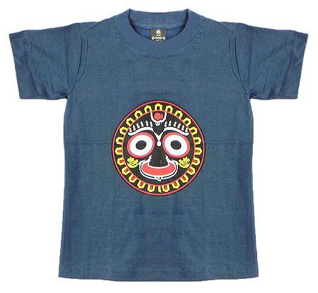 Printed Face of Jagannathdev on Grey T-Shirt