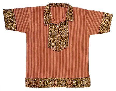 Maroon Stripe Half Sleeve Cotton Short Kurta with Wheel of Konark Weave Design