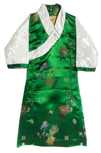 Green Brocade Silk Sikkimese Dress