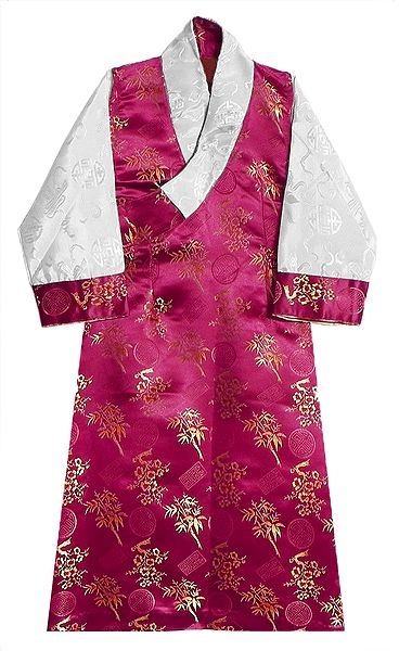 Kumkum Red Brocade Silk Sikkimese Dress