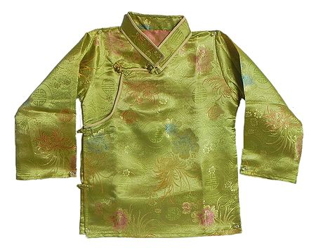 Green Woven Brocade Silk Finish Kurta