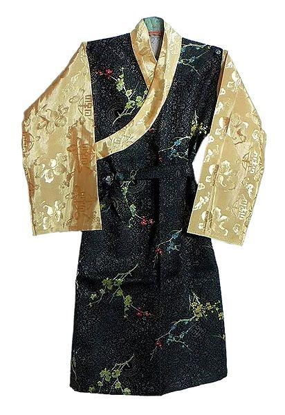 Black with Peach Brocade Silk Sikkimese Dress