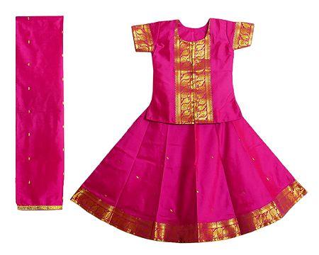 Dark Pink Silk with Zari Border Lehenga Choli and Chunni