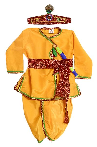 Silk Pyjama Dhoti, Kurta, Headress, Waistband and Flute