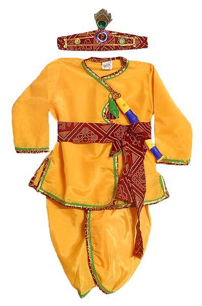 Silk Pyjama Dhoti, Kurta, Headress, Waistband and Flute