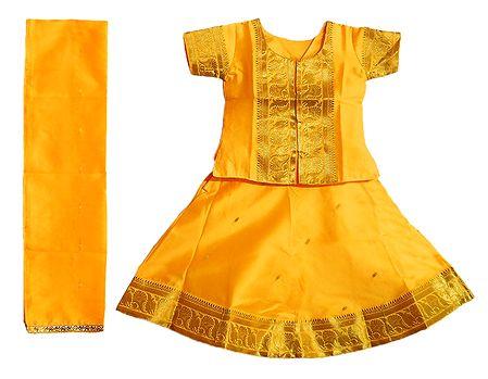 Yellow Silk with Zari Border Lehenga Choli and Chunni