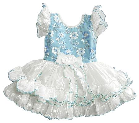 Embroidered Blue with White Frilled Party Wear Dress with Sequin work