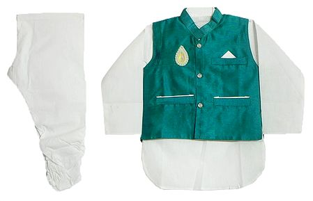 Modi Dress - White Cotton Churidar Kurta with Raw Silk Cyan Green Jacket