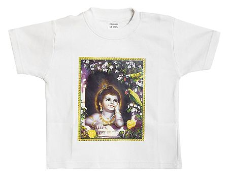 Printed Krishna on White T-Shirt for Young Boy