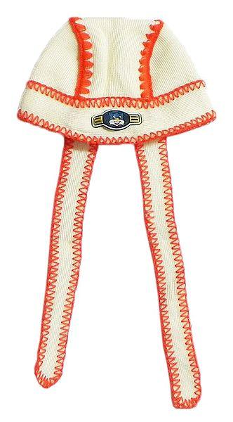 Off White Cap with Saffron Embroidery