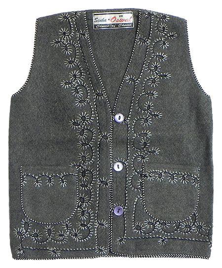 Front Open Embroidered Dark Grey Sleeveless Woolen Jacket with Pocket