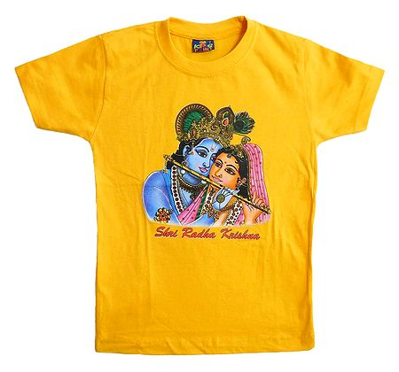 Printed Radha Krishna on Yellow T-Shirt for Young Boy