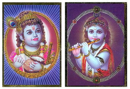 Young Krishna - Set of 2 Posters