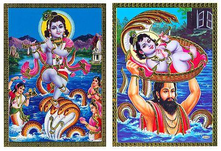 Kaliya Daman and Krishna, Basudev - Set of 2 Posters