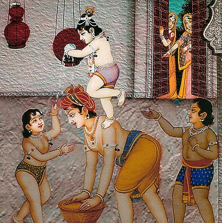Krishna Stealing Butter with His Friends