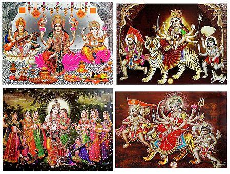 Hindu Deities - Set of 4 Glitter Posters