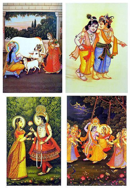 Krishna Yashoda, Radha Krishna and Krishna Balaram - Set of 4 Posters