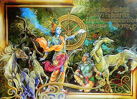 Krishna Preaches the Gita to Arjuna in the Battle of Kurukshetra