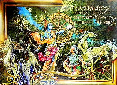 Krishna Preaches the Gita to Arjuna in the Battle of Kurukshetra
