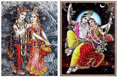 Radha Krishna - Set of 2 Glitter Poster
