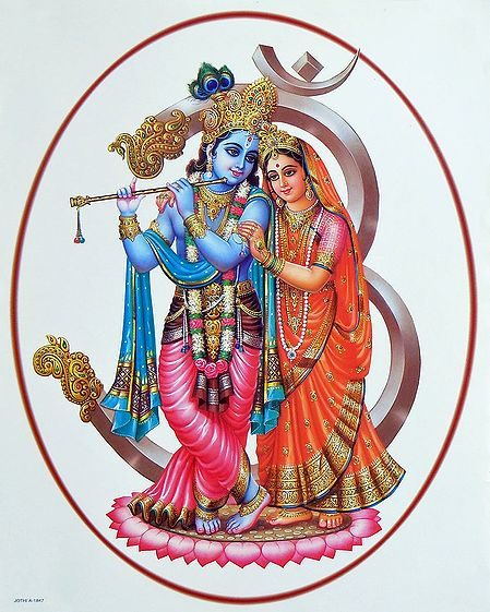 Radha Krishna in Front of Divine Sound Om