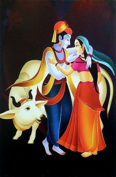 Radha Krishna in a Romantic Mood