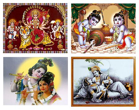 Set of 4 Radha Krishna, Bal Gopal and Bhagawati Posters