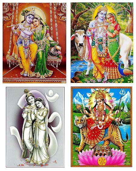 Radha Krishna and Vaishno Devi - Set of 4 Posters