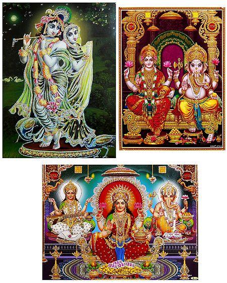 Radha Krishna, Lakshmi, Saraswati, Ganesha - Set of 3 Glitter Posters