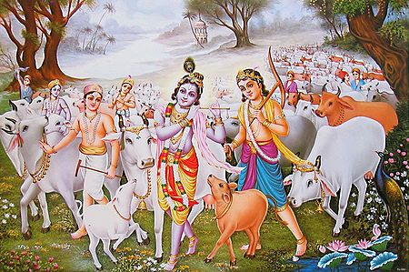 Krishna and Balaram with other Cowherds