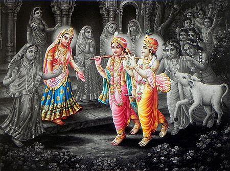 Radha, Krishna and Balarama with Gopis and Gopinis of Vrindavana