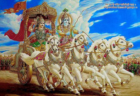 Krishna and Arjuna on Chariot during Kurukshetra War - Poster