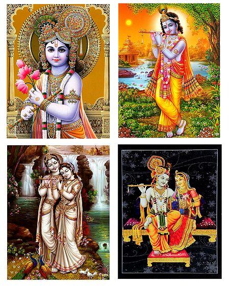 Krishna and Radha Krishna - Set of 4 Posters