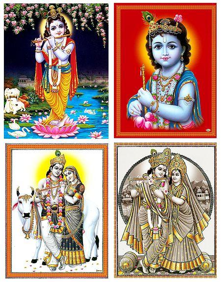 Radha Krishna and Krishna - Set of 4 Posters