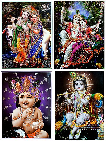 Radha Krishna and Young Krishna - Set of 4 Glitter Posters