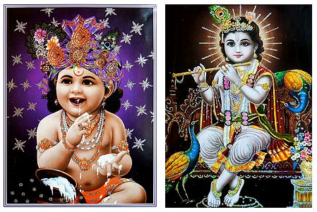 Young Krishna - Set of 2 Glitter Posters
