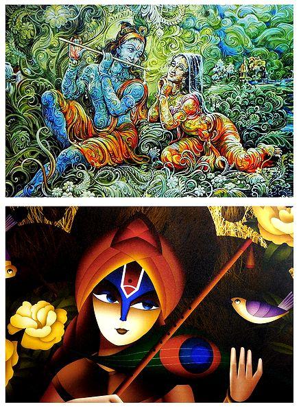 Radha Krishna and Meerabai - Set of 2 Posters