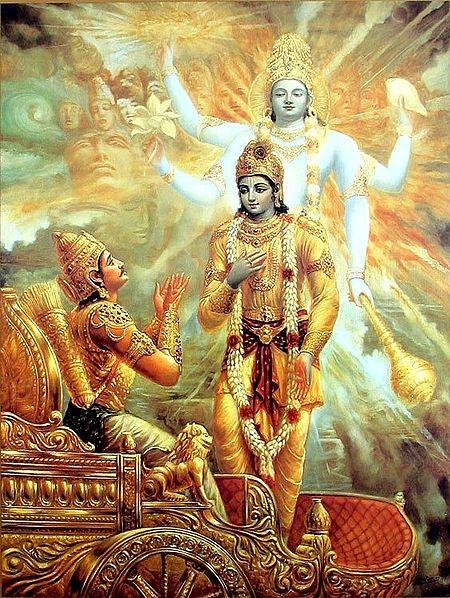 Krishna Showing Vishvarupa to Arjuna before kurukshetra War