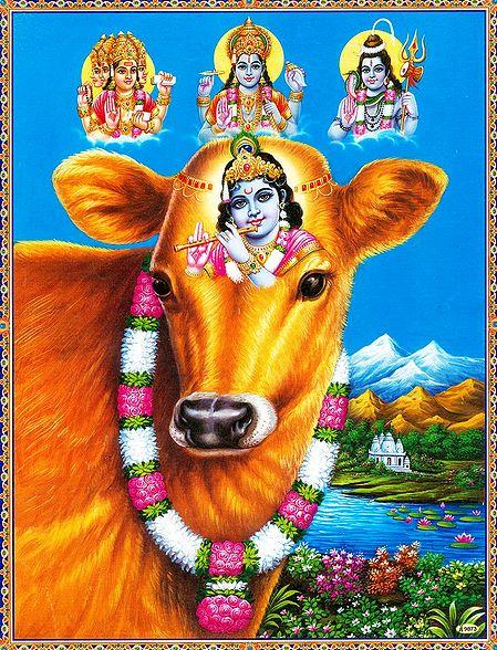 Krishna on Cow with Brahma, Vishnu, Shiva