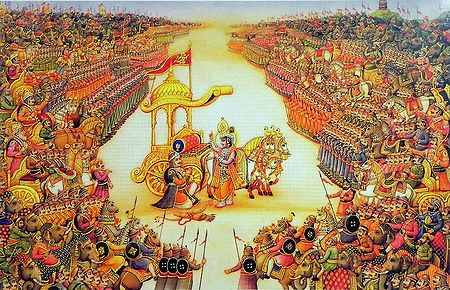 Krishna Preaches the Gita to Arjuna in the Battlefield of Kurukshetra