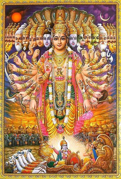 Lord Krishna showing Vishvarupa to Arjuna