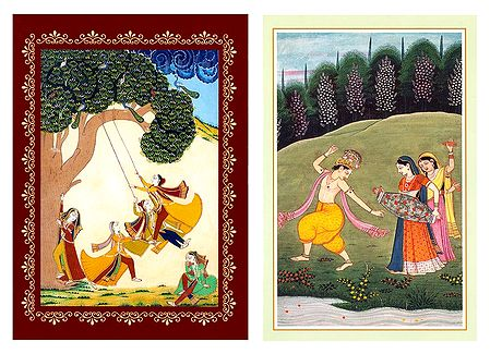 Radha Krishna and Gopinis - Set of 2 Posters