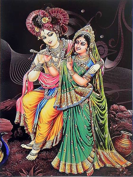 Radha Learns to Play Flute from Krishna