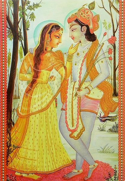 A Loving Moment Between Radha and Krishna