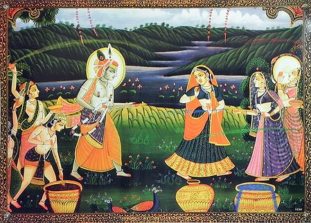 Krishna Playing Holi with Radha and Gopinis