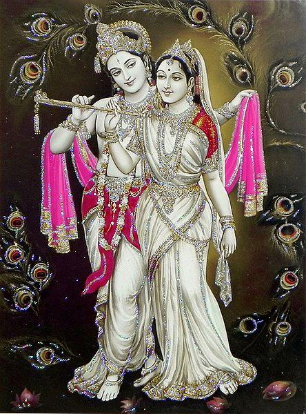 Radha Learning Flute from Krishna - Glitter Poster