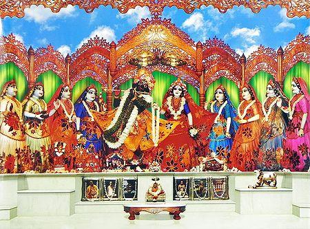 Radha Krishna with Eight Gopinis