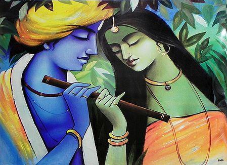 Radha Krishna Holding Flute