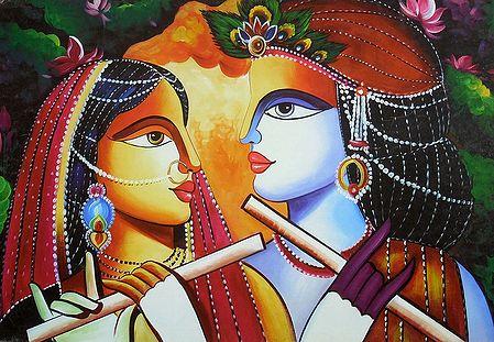 Radha and Krishna Playing Flute