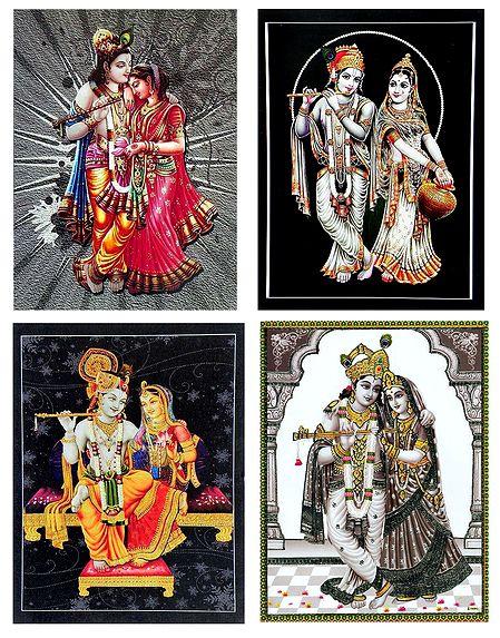 Set of 4 Radha Krishna Posters